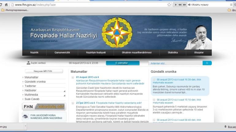 Fövqəladə Hallar Nazirliyinin www.fhn .gov.az domen adlı İnternet saytının monitorinqinin yekunu /İCMAL/