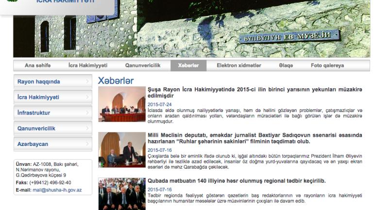 Şuşa Rayon İcra Hakimiyyəti www.shusha-ih.gov.az domen adlı İnternet saytının fəaliyyətinin təkmilləşdirilməsi ilə bağlı TÖVSİYƏLƏR