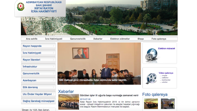 Xətai Rayon İcra Hakimiyyəti www.khatai-ih.gov.az domen adlı İnternet saytının monitorinqinin yekunu /İCMAL