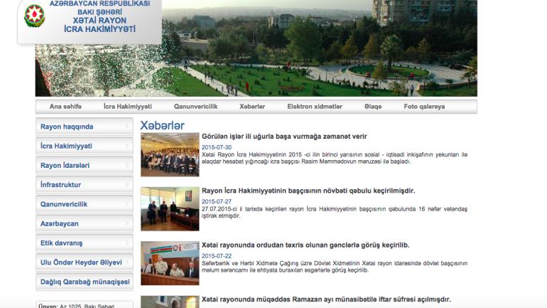 Xətai Rayon İcra Hakimiyyəti www.khatai-ih.gov.az domen adlı İnternet saytının fəaliyyətinin təkmilləşdirilməsi ilə bağlı TÖVSİYƏLƏR