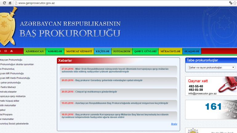 Baş Prokurorluğunun www.genprosecutor.gov.az domen adlı İnternet saytının monitorinqinin yekunu /İCMAL/