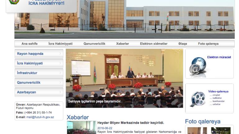 Füzuli Rayon İcra Hakimiyyəti www.fuzuli-ih.gov.az domen adlı İnternet saytının monitorinqinin yekunu /İCMAL/