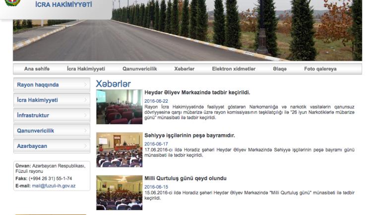 Füzuli Rayon İcra Hakimiyyəti www.fuzuli-ih.gov.az domen adlı İnternet saytının fəaliyyətinin təkmilləşdirilməsi ilə bağlı TÖVSİYƏLƏR