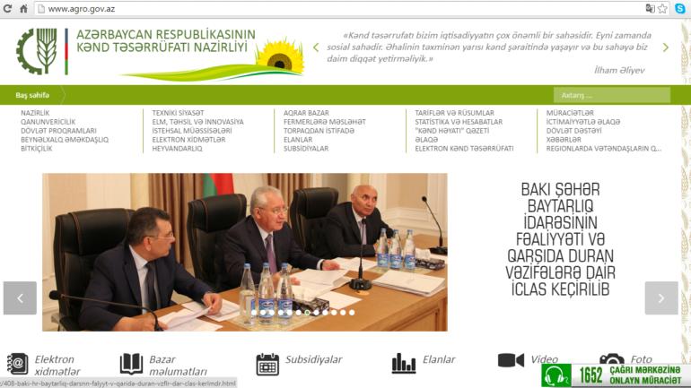 Kənd Təsərrüfatı Nazirliyinin www.agro.gov.az domen adlı İnternet saytının monitorinqinin yekunu /İCMAL/