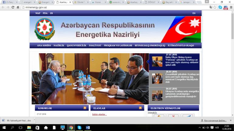 Energetika Nazirliyinin www.minenergy.gov.az domen adlı İnternet saytının monitorinqinin yekunu /İCMAL/