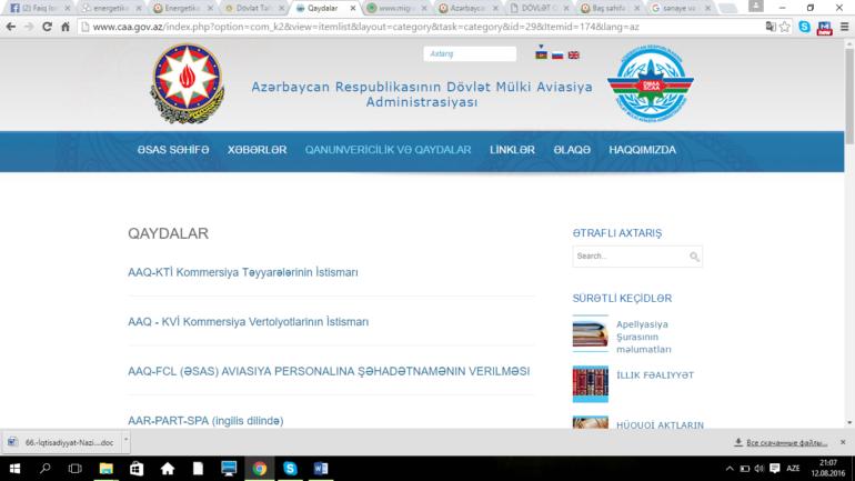 Dövlət Mülki Aviasiya Administrasiyasının www.caa.gov.az domen adlı İnternet saytının monitorinqinin yekunu /İCMAL/
