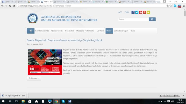 Əmlak Məsələləri Dövlət Komitəsi www.emdk.gov.az domen adlı İnternet saytının monitorinqinin yekunu /İCMAL/