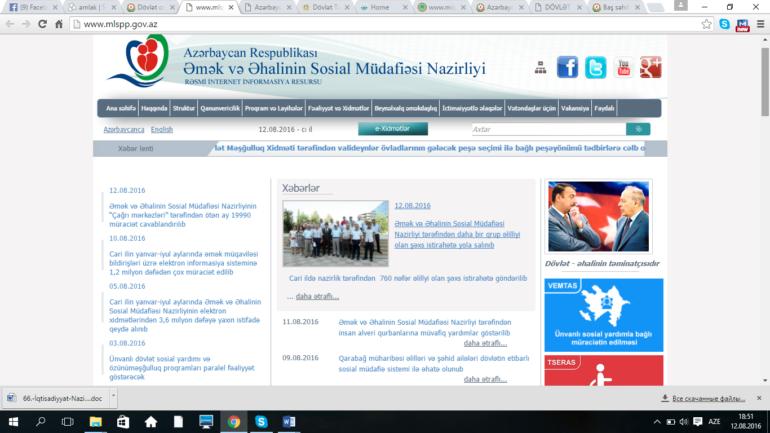 Əmək və Əhalinin Sosial Müdafiəsi Nazirliyinin www.mlspp.gov.az domen adlı İnternet saytının monitorinqinin yekunu /İCMAL/