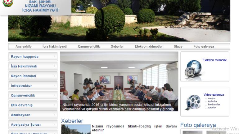 Nizami Rayon İcra Hakimiyyəti www.nizami-ih.gov.az domen adlı İnternet saytının monitorinqinin yekunu /İCMAL/