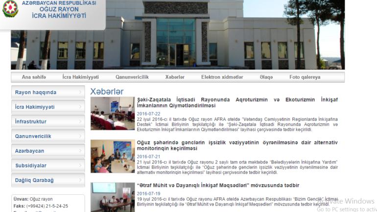 Oğuz Rayon İcra Hakimiyyəti www.oguz-ih.gov.az domen adlı İnternet saytının fəaliyyətinin təkmilləşdirilməsi ilə bağlı TÖVSİYƏLƏR