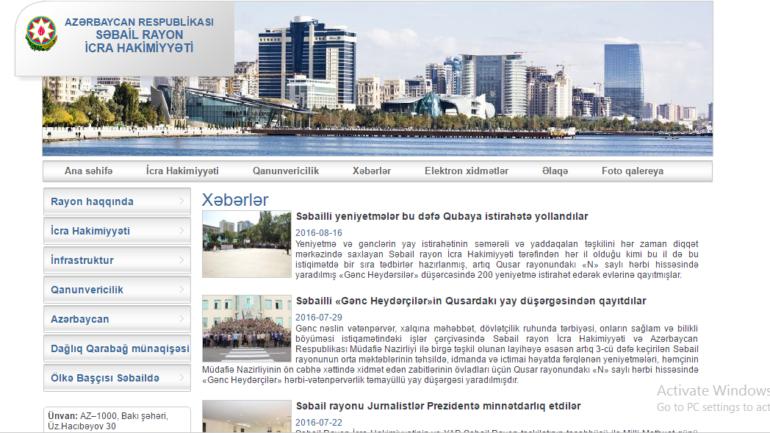 Səbail Rayon İcra Hakimiyyəti www.sabail-ih.gov.az domen adlı İnternet saytının monitorinqinin yekunu /İCMAL/