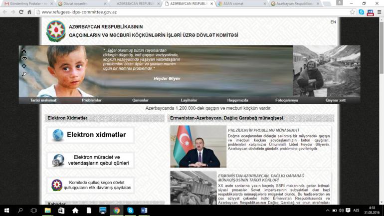 Qaçqınların və Məcburi Köçkünlərin İşləri üzrə Dövlət Komitəsinin www.refugees-idps-committee.gov.az domen adlı İnternet saytının monitorinqinin yekunu /İCMAL/