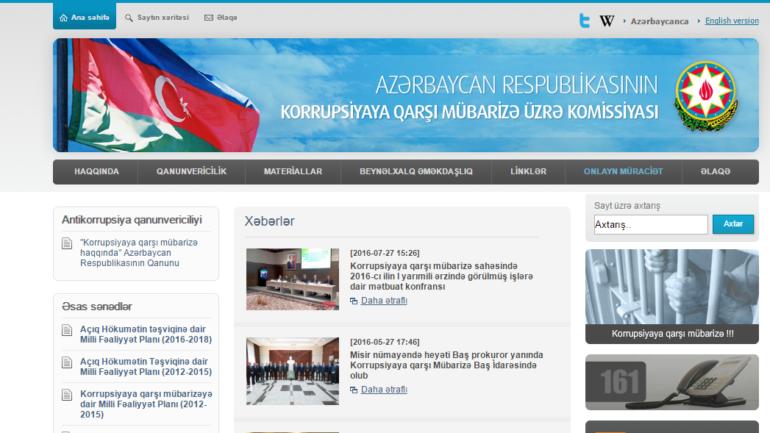 Korrupsiyaya Qarşı Mübarizə Üzrə Komissiyasının www.antikorrupsiya.gov.az domen adlı İnternet saytının monitorinqinin yekunu /İCMAL/