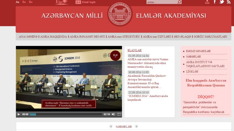 Milli Elmlər Akademiyasının www.science.gov.az domen adlı İnternet saytının monitorinqinin yekunu /İCMAL