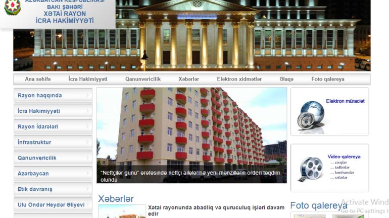 Xətai Rayon İcra Hakimiyyəti www.khatai-ih.gov.az domen adlı İnternet saytının monitorinqinin yekunu /İCMAL/