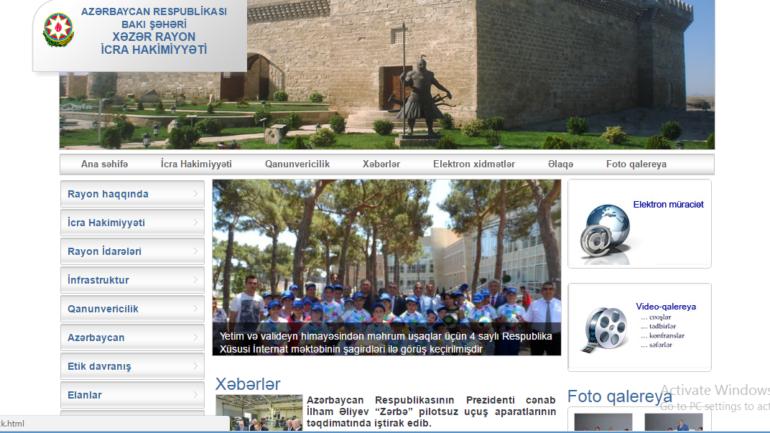 Xəzər Rayon İcra Hakimiyyəti www.xazar-ih.gov.az domen adlı İnternet saytının monitorinqinin yekunu /İCMAL/