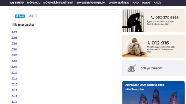 İnsan Hüquqları üzrə Müvəkkili Ombudsman www.ombudsman.gov.az domen adlı internet saytının fəaliyyətinin təkmilləşdirilməsi ilə bağlı TÖVSİYƏLƏR