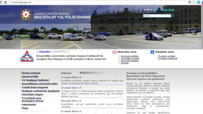 Baş Dövlət Yol Polisinin www.dyp.gov.az domen adlı İnternet saytının monitorinqinin yekunu /İCMAL/