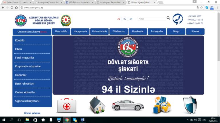 """Dövlət Sığorta Kommersiya Şirkəti """"Azersığorta"""" www.azersigorta.az domen adlı İnternet saytının monitorinqinin yekunu /İCMAL/"""